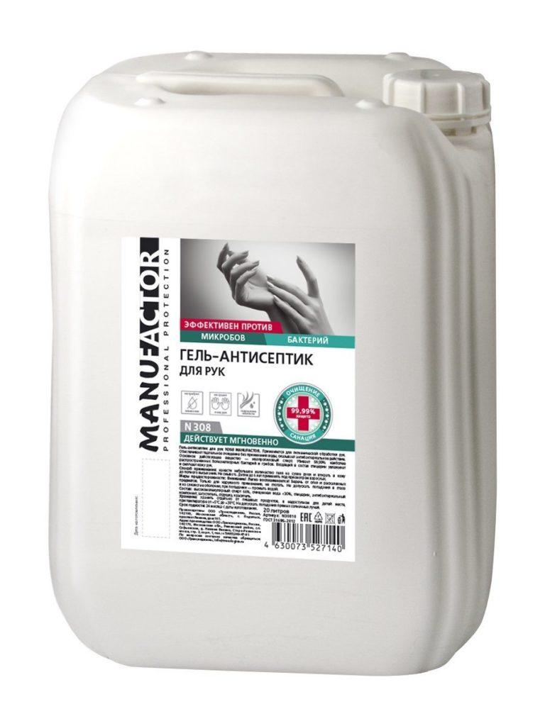 N308 Гель-антисептик для рук MANUFACTOR, ПВХ, 20 л