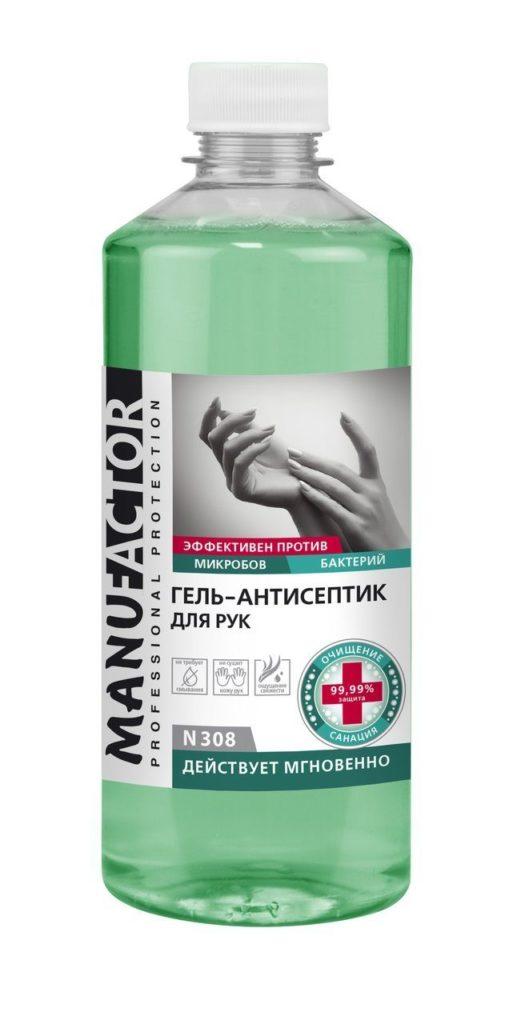 N308 Гель-антисептик для рук MANUFACTOR, ПЭТ, крышка винтовая, 500 мл