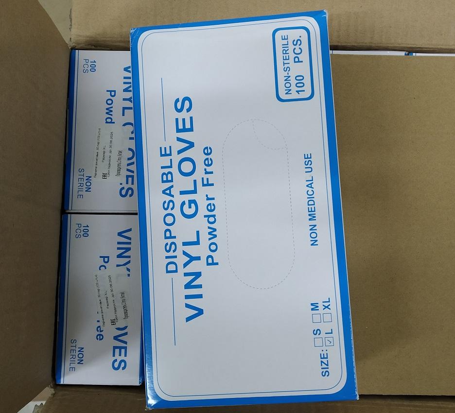 Перчатки одноразовые виниловые прозрачные размер L(100 шт).